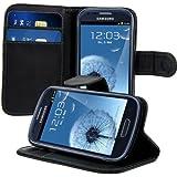 kwmobile Funda para Samsung Galaxy S3 Mini - Wallet Case plegable de cuero sintético - Cover con tapa tarjetero y soporte en negro