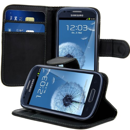 kwmobile Samsung Galaxy S3 Mini i8190 Custodia portafoglio - Cover a libro in simil pelle - Flip Case con porta carte per Samsung Galaxy S3 Mini i8190