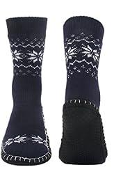 Vihir Hombres Calcetines Antideslizantes para el hogar, Azul