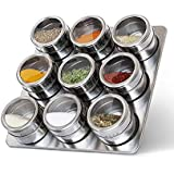 CBEX 9 Pieces Magnetic Spice Jars Set Stainless Steel Salt and Pepper Spray Shakers Spice Rack Seasoning Box Condiment Container