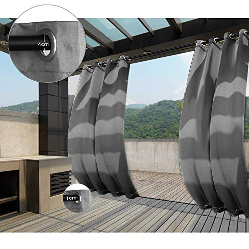 Clothink Outdoor Vorhang - B:132xH:215cm Grau - mit Ösen Oben und Unten - Winddicht Wasserabweisend Sichtschutz Sonnenschutz