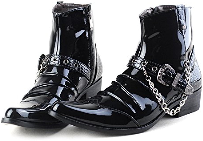 Männer martin stiefel lange zylinder stiefel mens martin runde leder warme stiefel. schwarz 43