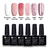UR SUGAR 7.5ml Gel Nagellack Set Nude Pink Weiß Pure Rose Gold Katzenauge Glitter Metallic Magic Spiegeleffekt Lack UV LED Soak Off Nail Art Maniküre 6 Farben Sammlung