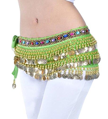 YuanDian Damen Farbe Diamant Bauchtanz Taillenkette Hüfttuch Gürtel Bauch Tanzen Schal Rock Mit Münzen Frucht Grün