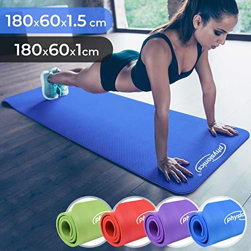 Physionics Yogamatte - 180 x 60 cm, 1.0/1.5 cm dick, rutschfest, inkl. Tragegurt, Farbwahl - Gymnastikmatte, Fitnessmatte, Trainingsmatte für Yoga, Pilates, Gymnastik (Blau, 180x60x1.5cm)