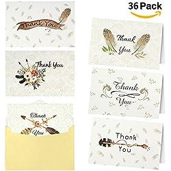 36 Tarjetas de agradecimiento con 36 Sobres 6 Diseños para Bodas