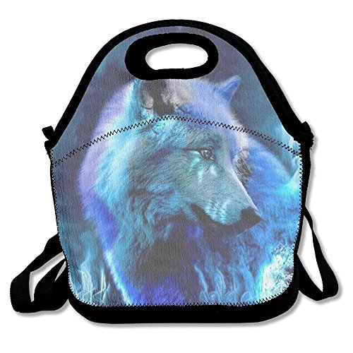 Icndpshorts Lunch Boxes Blue Light Wolf Lunchbox Food Container Lunch Tote Handbag Designer Lunch Box for Work, Office, School