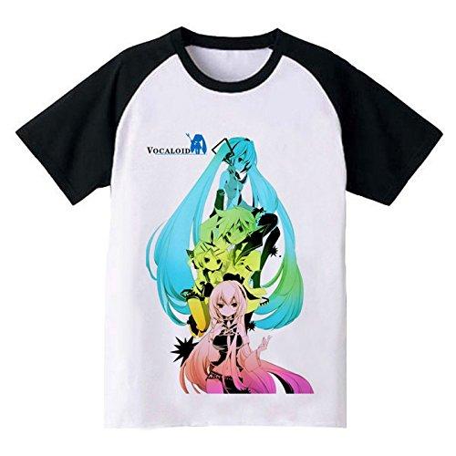 Vocaloid Miku Hatsune Cosplay Kostüm Anime Kurzen Ärmeln Top Tee T-Shirt Gr. M, Mehrfarbig - Schwarz und (Kostüme Annie Halloween)
