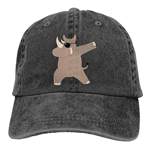 cvbnch Cowboy-Hut Sonnenkappen Sport Hut Rhino with Sunglasses Dabbing Men's Women's Adjustable Baseball Hat Yarn-Dyed Denim Sun Hat Sports Cool Youth Golf Ball Unisex Hiking Cowboy hat hip hop