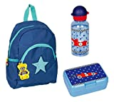 Die Spiegelburg Rucksack Set Glühwürmchen 3tlg. Set mit Trinkflasche und Brotdose z.B. für den Kindergarten Sterne blau voll reflektierend