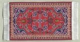 Miniatur Teppich, reines Polyester, für Krippe, Puppenhaus. Rotes Muster. 5x9 cm