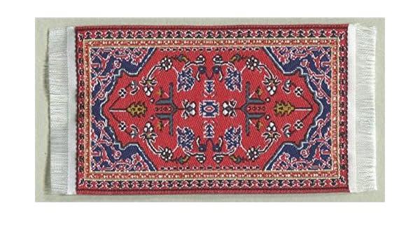 Miniatur Teppich Blumenmuster reines Polyester für Krippe 5x9 cm Puppenhaus