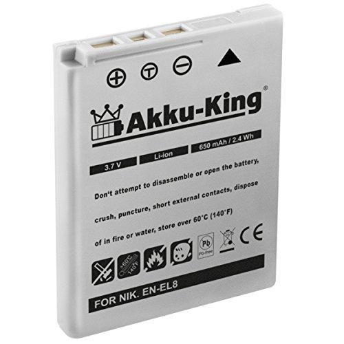 Akku-King Akku kompatibel zu Nikon Coolpix P1, P2, S1, S2, S3, S5, S50, S50c, S51, S51c, S52, S52c, S6, S7, S7c, S8, S9 - ersetzt EN-EL8 Li-Ion - 650mAh