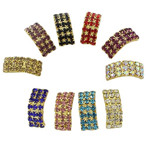 Amison 10 Piece 20x9mm Mixed Colors Arched Rhinestone Buckles Wedding Ribbon Slider Diamond Buttons Shinny Gold Plated DIY Hair Accessories Slider Card