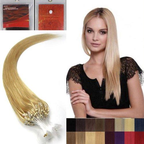 55,9 cm droite à pointe Boucles Micro Anneaux Perles extenions de cheveux humains 100s 24 Blond Doré femmes Beauté multicolores Style Design 0,5 g/s