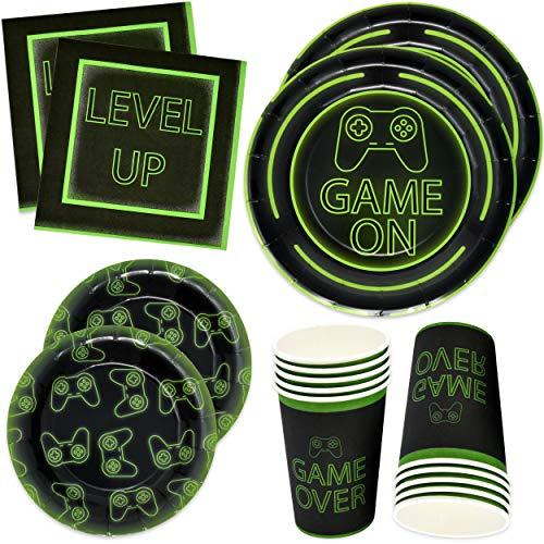 Gift Boutique Videospiel-Party-Teller, 24 22,9 cm Teller 24 17,8 cm Teller 24 22,9 ml Tassen 50 Luncheon Servietten für Gamer Geburtstag Dekoration Gaming Themed Geschirr Level Up Game Over Game On (Video-spiele, Party Supplies)