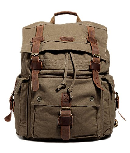 Kattee Womens Mens Vintage Canvas School Laptop Backpack Rucksack Casual Daypacks