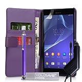 Yousave Accessories Cover Per Sony Xperia T2 Ultra Viola Custodia Portafoglio in PU Pelle Con Stilo e Caricabatteria da Auto