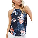 Jaminy Damen Tank Tops Sommer Ärmellos Bluse Shirt Ärmellose Tank Top Loose Sommer Blusen Shirt Basic Shirt Tunika Obertail S-XL (XL, Marine)