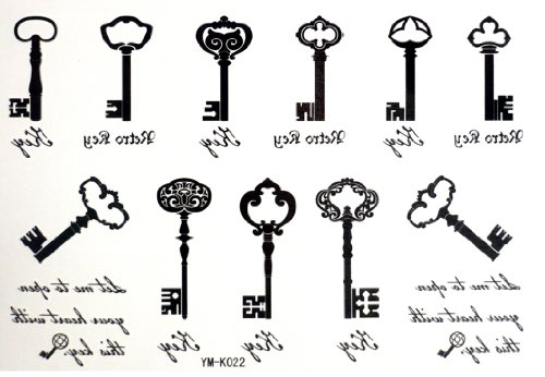 2012 Nouveautés Halloween Noël Treasure Chest clés 11 clés style Tatouages Temporaires avec un MicroDeal® Piece chiffon de nettoyage marques par ordre