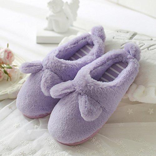 DogHaccd pantofole,Pantofole di cotone femmina spessa coperta, antiscivolo inverno incantevole soggiorno di casa con un pacchetto di caldo con eleganti pantofole La porpora3
