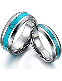 JewelryWe Matching Comfort Fit Synthetic Turquoise Inlaid Tungsten Wedding Rings 8mm His & 6mm Hers Set Aniversary/Engagement/Wedding Bands Set