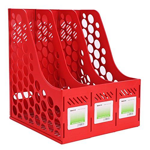 Dokumenten Ordner Halter Schrebtisch Organizer A4 Buchständer Kunststoff Stehsammler mit verschiedenen Farben Bücher Zeitungen Sammler BürobedarfSortierablagen für Schule Büro Haus Rot