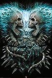empireposter 743572 Spiral - Flaming Spine - Fantasy, Maxi-Poster, Druck, Gemälde Gothic Scull Totenkopf, Papier, Mehrfarbig, 91,5 x 61 x 0,14 cm