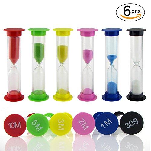 SunTop Temporizador Arena, Reloj de Arena en 6 Colores Reloj Temporizador 30 Segundos/1 Minuto/2 Minutos/3 Minutos/5 minutos/10 Minutos (6 Color)