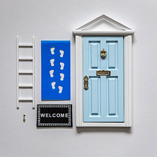 La Petite Souris Decoration Chambre Fille et Garçon, Porte Magique Bleu + Petite Clef + Carte de voeux+ Coloriage + Petit paillasson+ Moule pour Les empruntes + Petit escalier