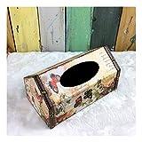 SHUCHANGLE Tissue Box Holder Vintage Holz Pu Vogelkäfig Form Schmetterling Muster Tissue Paper Holder Abdeckung Für Heim Und Büro Auto Desktop Tissue Box