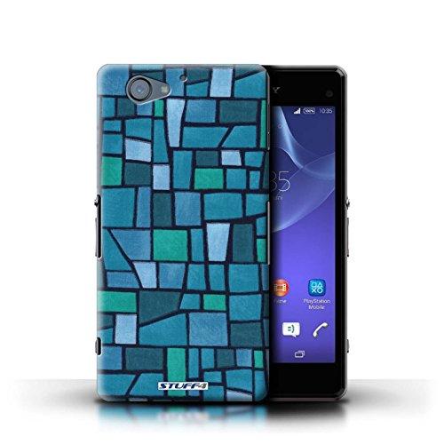 Kobalt® Imprimé Etui / Coque pour Sony Xperia A2 / Rouge/Bleu conception / Série Carrelage Mosaïque Bleu/Turquoise