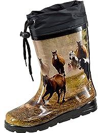 «nora paire de bottes en caoutchouc avec motif cheval, kindergummistiefel chevaux