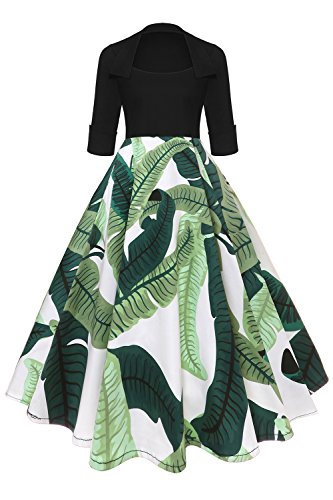 50s Vintage Rockabilly Blumenkleid Hepburn Stil Partykleid Cocktailkleid 50er Jahr Abendkleid FS2717 (70er-jahre-stil Damen Kleidung)