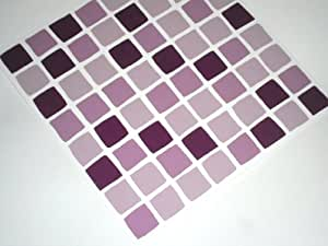 Pack of 10 lilac purple mosaic tile transfers stickers for Maioliche adesive