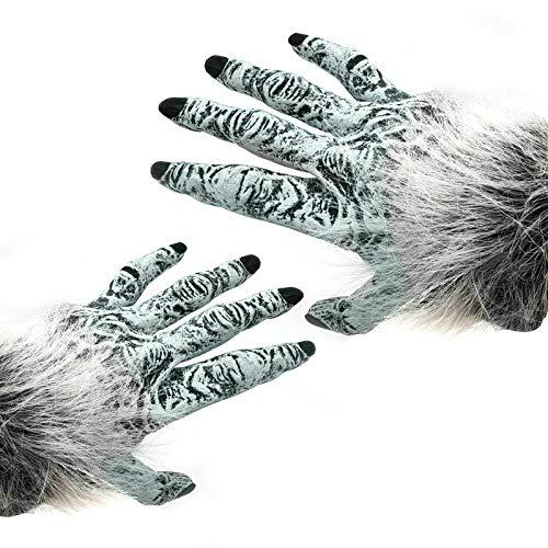 Halloween Kostüm Party Erwachsene Werwolf unheimlich PVC Hand Handschuhe Grau (Grau Werwolf Handschuhe)