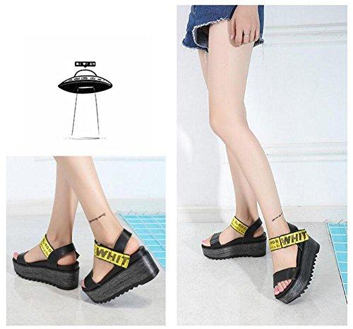 Frauen Peep Toe Knöchelriemen Plattform Keil 2017 Sommer neue Leder dicke Sandalen weiblichen Klettverschluss High Heel Schuhe Black
