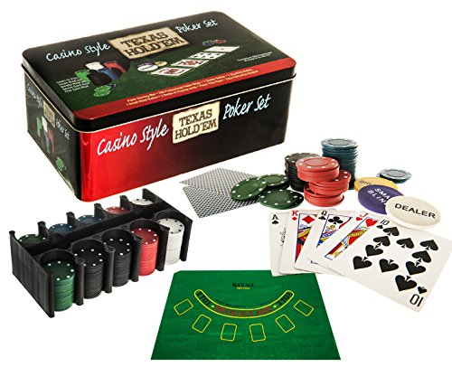 Express trading PROFESSIONAL TEXAS HOLDEM POKER GAME SET GAMING MAT 200 PIECE WITH CHIPS, DECKS PLAYING CARDS AND TIN BOX - HOLD EM POKER SET