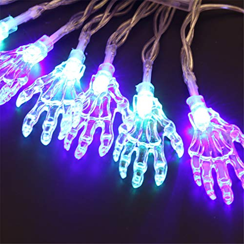 LHY LIGHT Batterie Lichterkette 20LED Halloween Ghost Hand Lampe Zimmer Hof Dekoration Urlaub Laterne,Color (Für Dekorationen Zimmer Halloween)