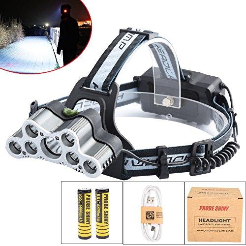 Phare LED, 10principales 5000Lumens Ultra Lumineux 9LED Lampe frontale Head Light avec batterie rechargeable pour le camping chasse randonnée et activités de plein air