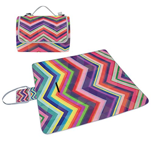 COOSUN Retro Rainbow Zig Zag - Manta picnic resistente