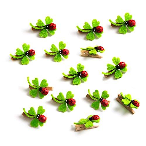 14 kleine Mini-Klammern Dekoklammern Zier-Klammern Holzklammern grün rot natur mit Glücks-Klee Kleeblatt und Marienkäfer 3cm zum Basteln und Verzieren von Geschenken Mini-Wäscheklammer