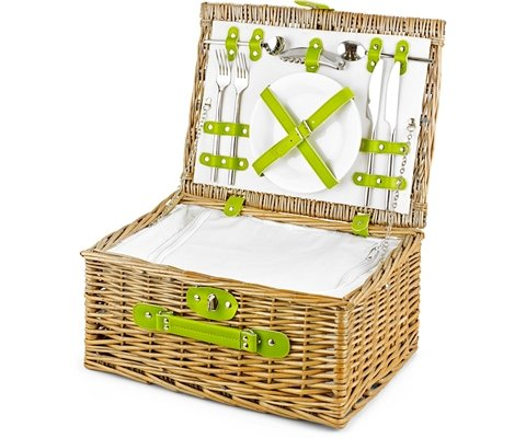Empty Picnic Basket, Green Cool Hamper (2-Person 1