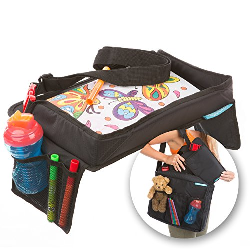 Children's Snack N Play Car Seat Travel Tray & Carry Bag Set by Supa-Dupa! Kids Travel Play Tray Suitable for most kids & toddler carseats + (BONUS Carry Bag) (Auto Tray)