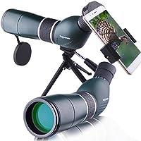 Solomark Longue-vue 15 - 45 x 60 Spotting Scope,Oculaire coudé 45 °, étanche et anti-buée, avec trépied et adaptateur Smartphone pour la chasse d'observation d'oiseaux tireurs et les activités sportives en extérieur