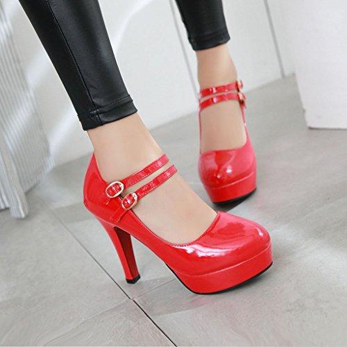 YE Damen Riemchen High Heels Plateau Geschlossen Pumps Lack Elegant Mary Jane Paty Schuhe Rot