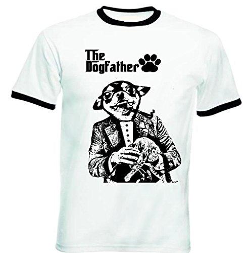 Teesquare1st Men's CHIHUAHUA DOGFATHER PB 9 Black Ringer T-Shirt Size XLarge