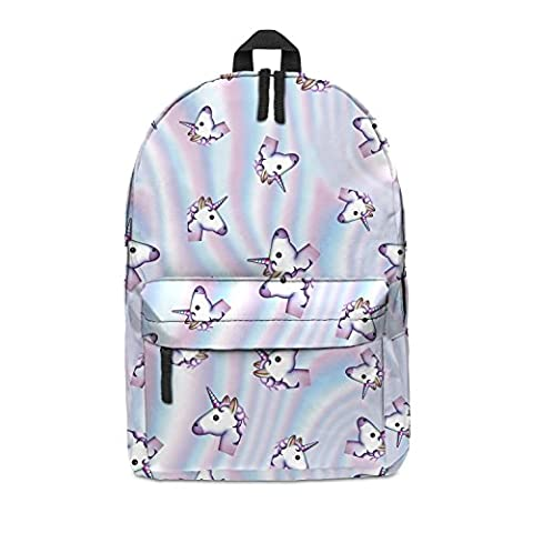 FRINGOO Unisex Boys Girls Backpack School Rucksack Fully Printed Cabin Luggage Travel Gym (H42 x L31 x W21 cm, Holo Unicorn
