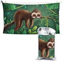 WOCNEMP Cute Sloth Outdoor Sport Towel Large Beach Towel Quick Hair Dry Towel Sandproof Microfiber Beach Towel 27.5