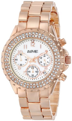 August Steiner Femme AS8031RG Cristaux Nacre Chronographe Bracelet Montre